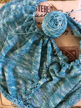 Blue Shawl Progress