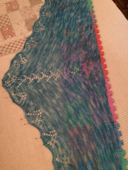 Tanis Triangular Shawl - Now blocking